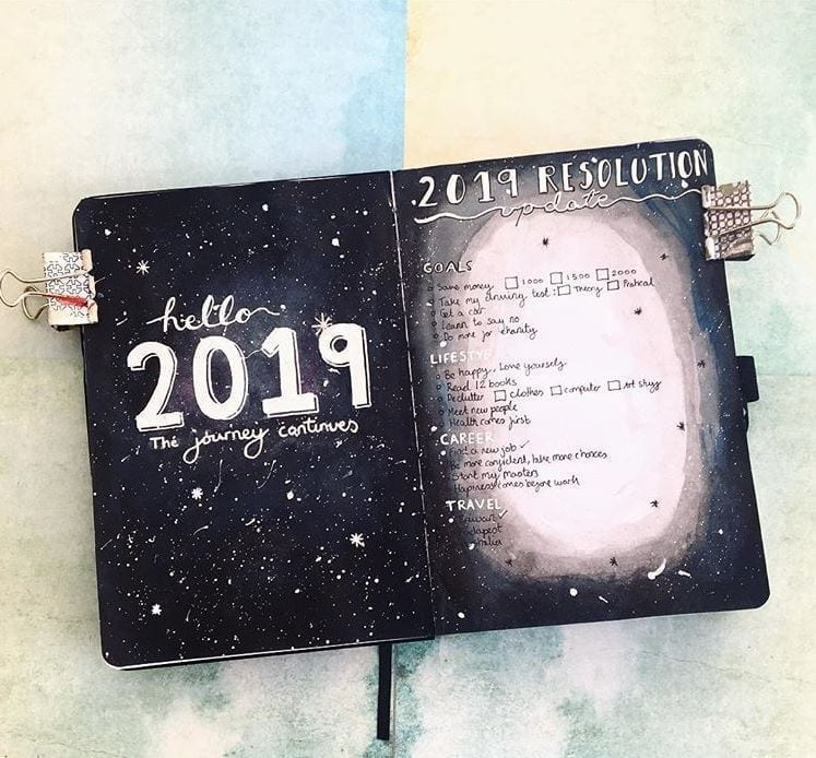 black paper notebook with 2019 cover and 2019 goals with silver detailing