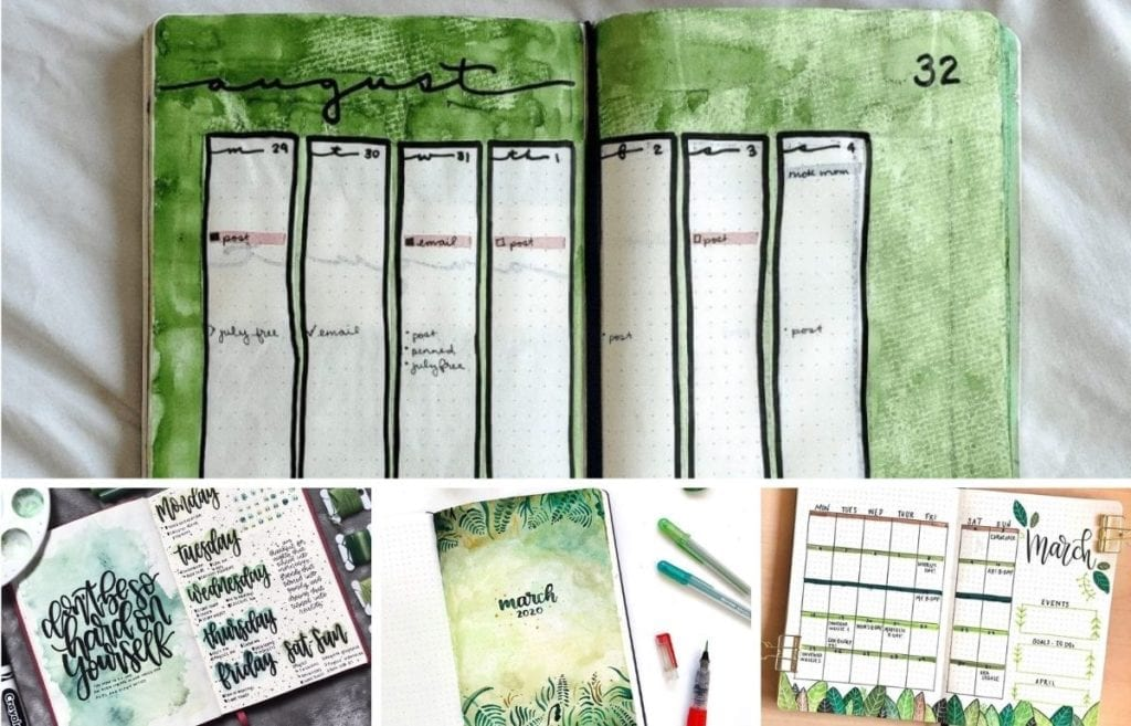 I often theme my monthly spreads based on a color that I feel represents that month. Green is one of my favorite colors in general, but also to use in my bullet journal. So, let's check out these awesome green bullet journal layouts.
