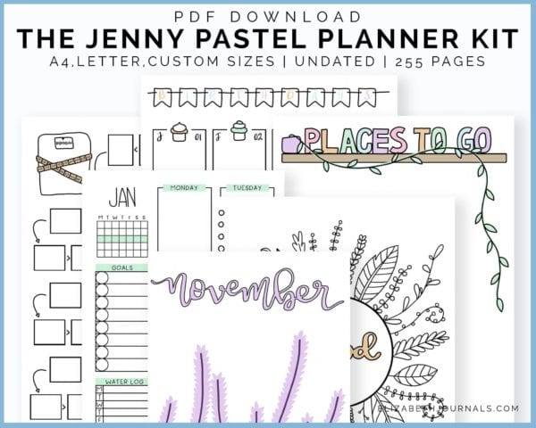 the jenny pastel planner kit 2-pdf download-a4 letter and custom sizes-undated-255 pages-hand-drawn art-elizabethjournals-6 mockusp
