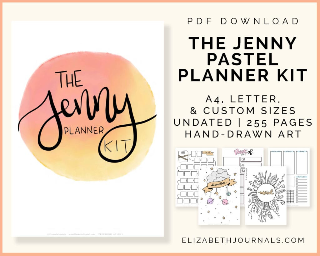 the jenny pastel planner kit-pdf download-a4 letter and custom sizes-undated-255 pages-hand-drawn art-elizabethjournals-6 mockusp