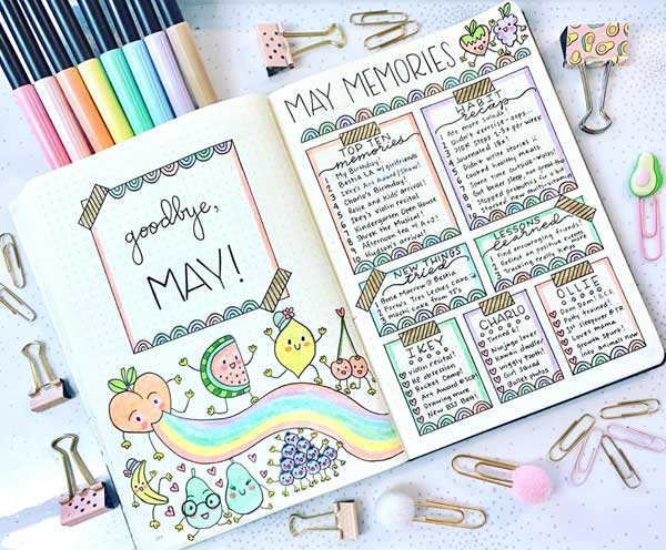 notebook on desk top surrounded by pens and paper clips. pages include a fruit-themed May cover and May memories page