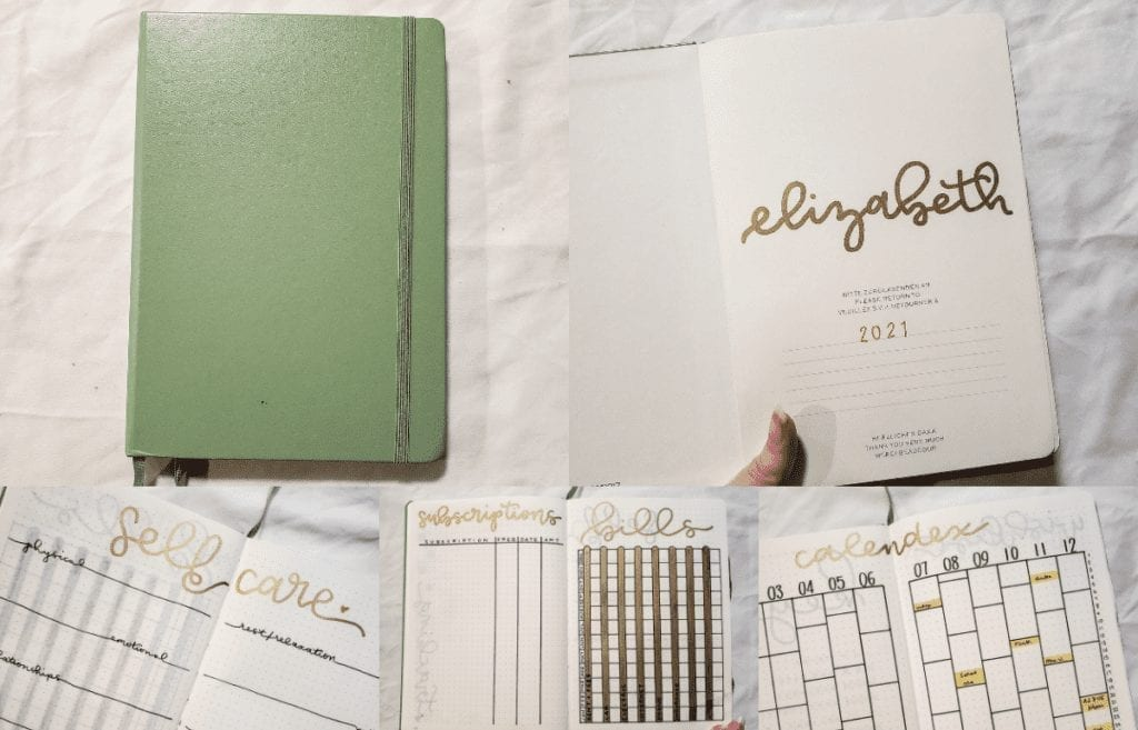 2021 bullet journal plan with me article featured image. preview top left: notebook cover; top right: title page; bottom left: self-care menu; bottom middle: financial trackers; bottom right: calendex