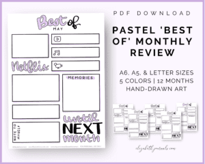 pastel best of monthly review perview page_5 pastel color options_12 months_a6 a5 letter and custom sizes_