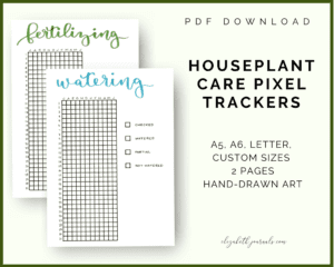 houseplant care pixel trackers_pdf download_a5 a6 letter sizes_2 pages_handdrawn art