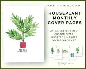 houseplant monthly cover pages_pdf download_a4 a5 letter sizes_watercolor_hand-painted_undated_12 pages