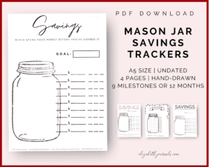 mason jar savings trackers_pdf download_4 styles_4 pages_a5 size_undated_12 months or 9 milestones_handdrawn