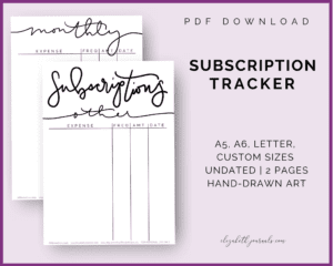 subscription tracker_a5 a6 letter sizes_undated_2 pages_handdrawn art
