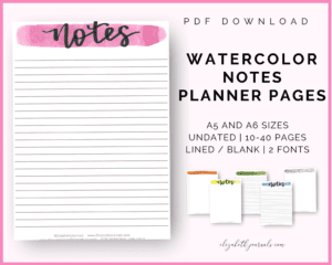 watercolor notes planner pages_pdf download_a5 and a6 sizes_undated_10-40 pages_lined_blank_script or brush lettering_