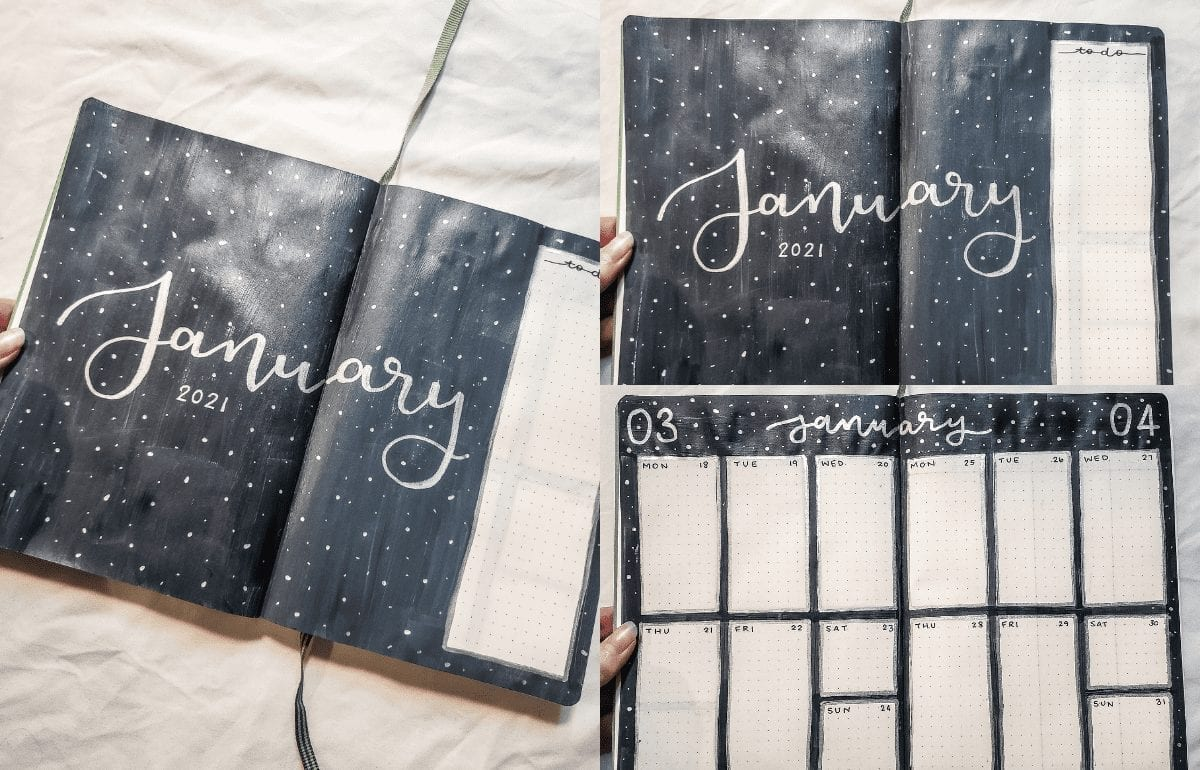 featured image: evening-snowstorm-bujo-january-2021