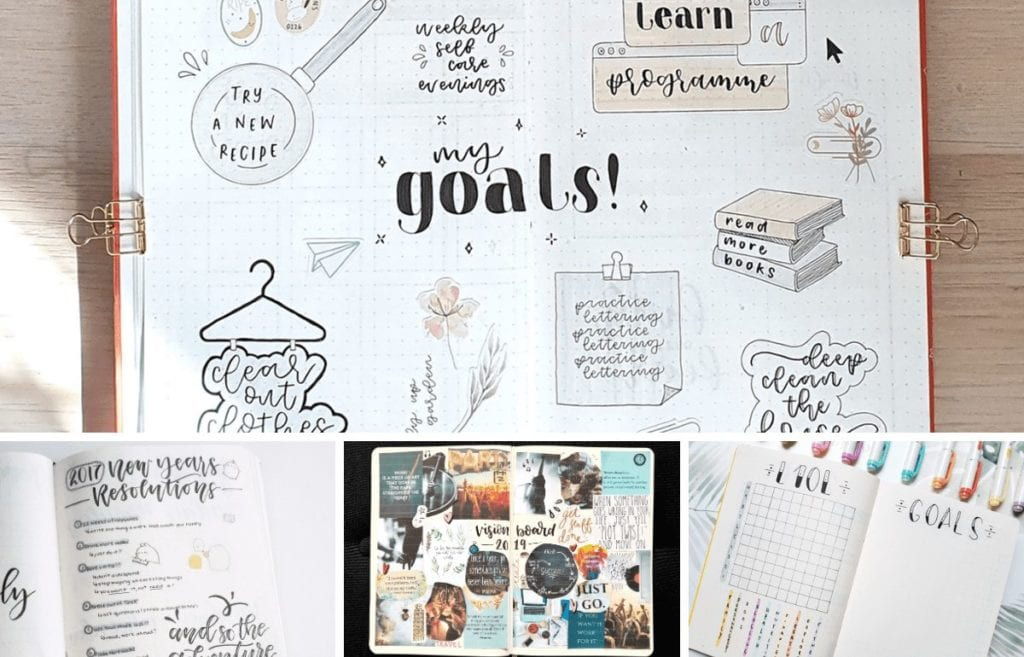 When starting a new journal, new year, or new mentality goals and visions are essential. Check out these inspiring goal and vision board layouts to help you destroy the new year!