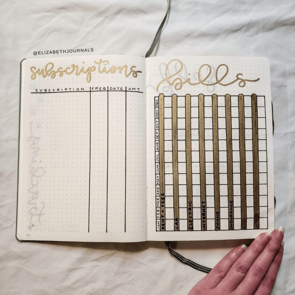 """left page: """"subscriptions"""" in gold minimal script with table below; four columns """"subscriptions"""" """"freq"""" """"date"""" and """"amt"""" Right page: """"bills"""" in minimal gold script with rows per bill and columns per month; bill rows highlighted in gold ink"""