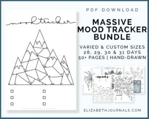 listing image with preview and details_massive mood tracker bundle_varied and custom sizing_28 29 30 and 31 days_50+ pages_handdrawn