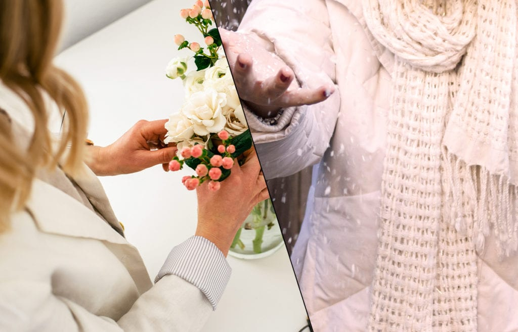featured image-how to manage bipolar disorder and seasonal changes- split diagonally in two images. first image woman putting flowers in vase. image two person in white winter gear holding hands out to falling snow