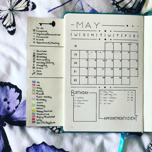 bullet journal may monthly log with flip-out key to left
