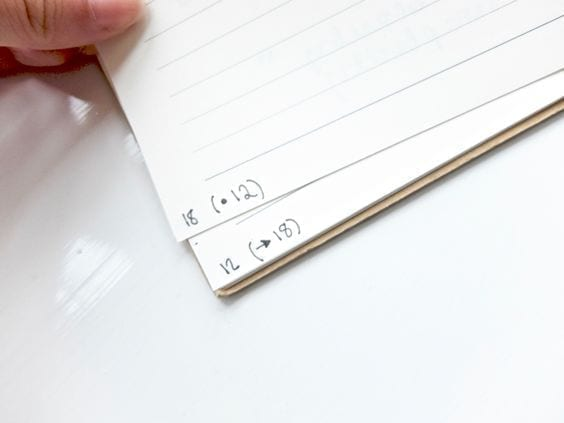 corner of bullet journal page showing example of threading-bullet journal hack