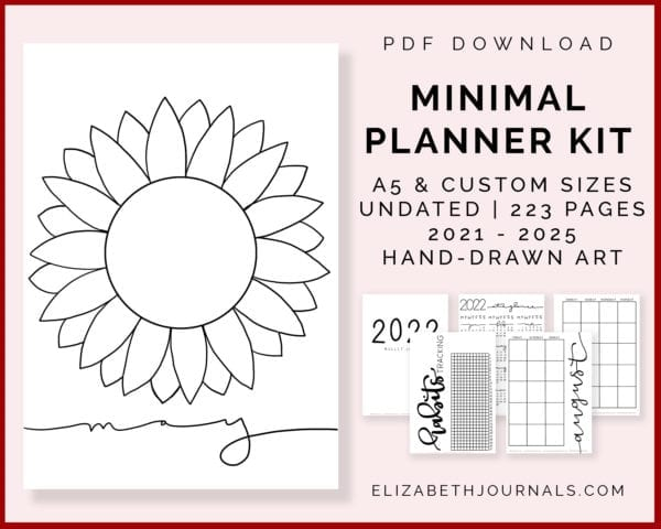 featured image-minimal planner kit-a5 and custom sizes, undated, 223 pages, 2021 - 2025, handdrawn art- previews of content-instant PDF download