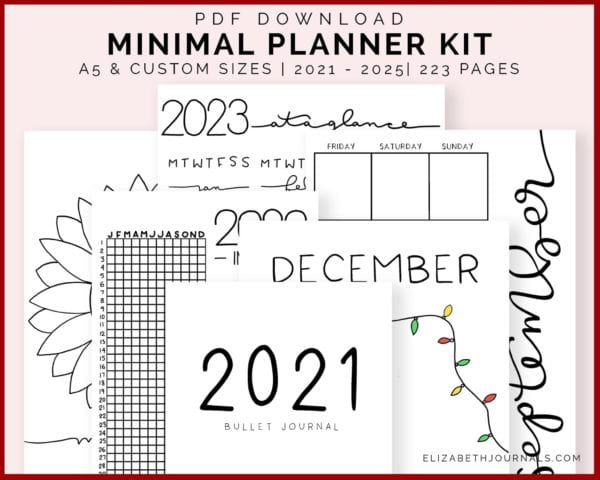 featured image-minimal planner kit-a5 and custom sizes, undated, 223 pages, 2021 - 2025, handdrawn art- previews of content-instant PDF download2
