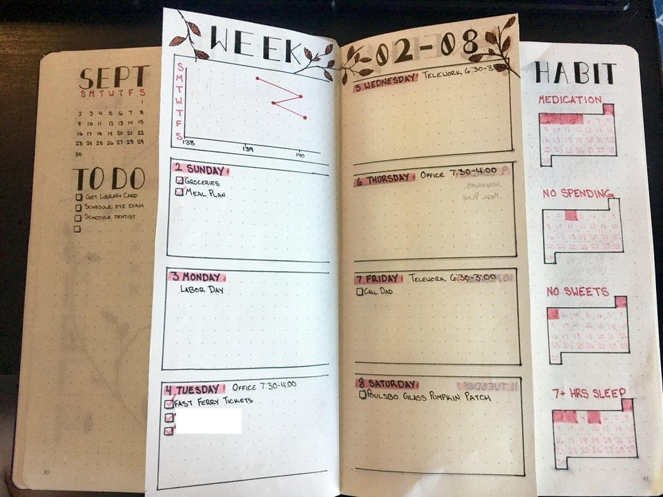 bullet journal for september with dutch doors for each week's daily to-dos