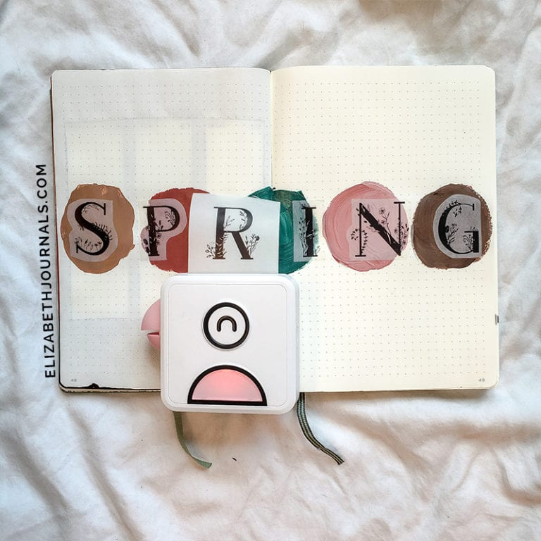 "cover page. 5 messy painted circles: tan, dark salmon, forest green, pink, brown across the horizontal center of two pages. ""SPRING"" in bold letters with floral designs (stickers) accross the page also. Pink Poooli printer printing ""G"" on second page."