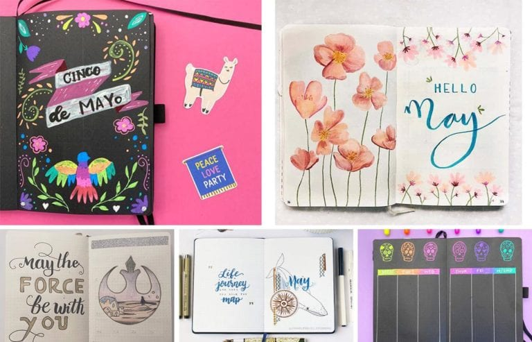 may-bullet-journal-theme-photo. Collage of may bullet journal layouts