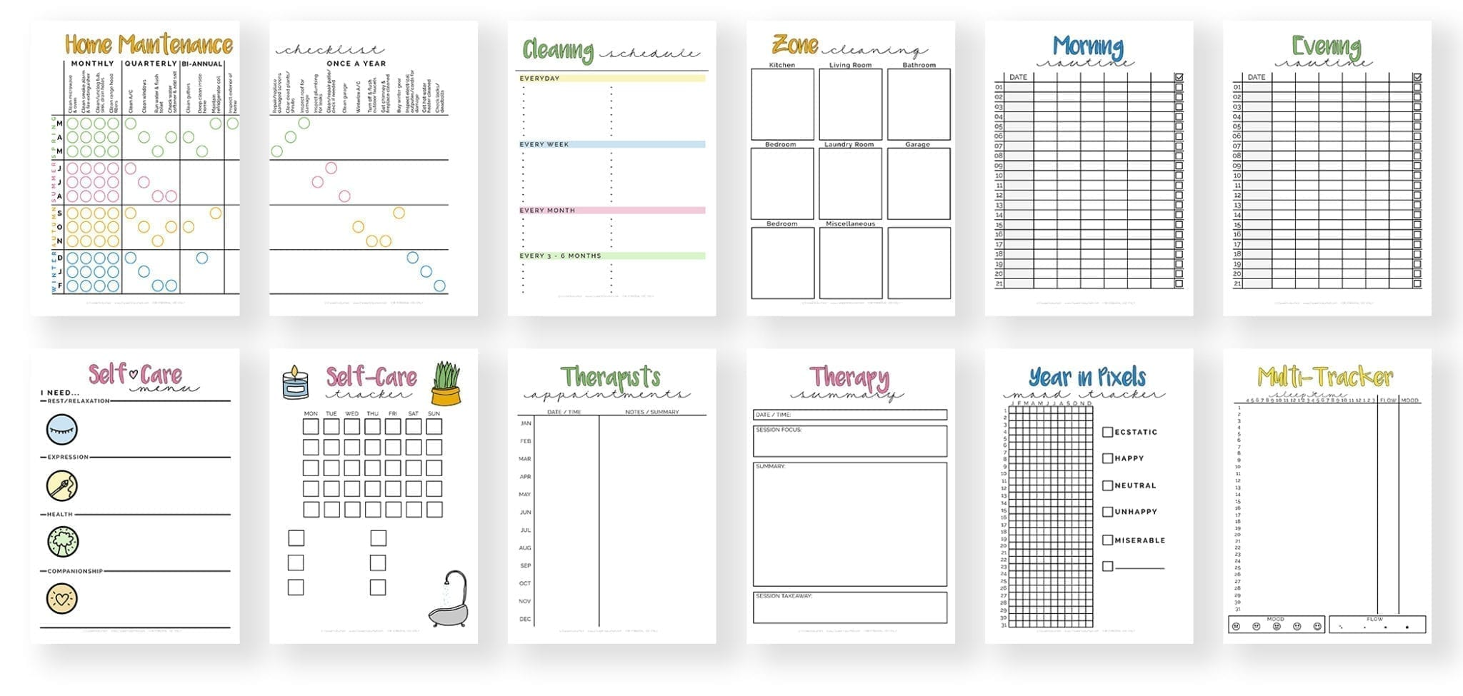banner2-home maintenance-cleaning schedule-zone cleaning-morning and evening routine-self-care menu-self-care tracker-therapist appointments and summary-year in pixels mood tracker-multi tracker