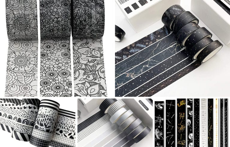 featured image-collage of black and white washi tape