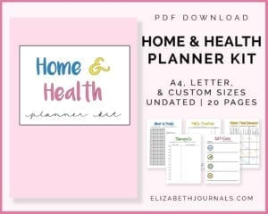 home and health planner kit-a4 letter custom sizes-undated-20 pages-5 page previews-cover image-elizabethjournals-pdf download