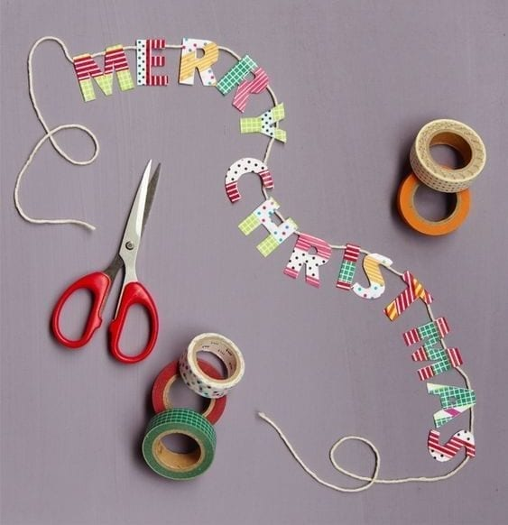 merry christmas banner decorated with washi tape