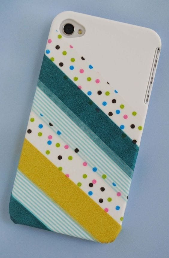 phone case decorated with washi tape
