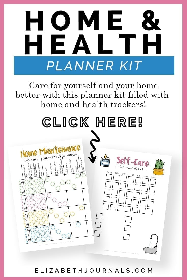 pinterest image 1-home and health planner kit-product description-click here-preview 2 pages-home maintenance-self-care tracker-elizabethjournals