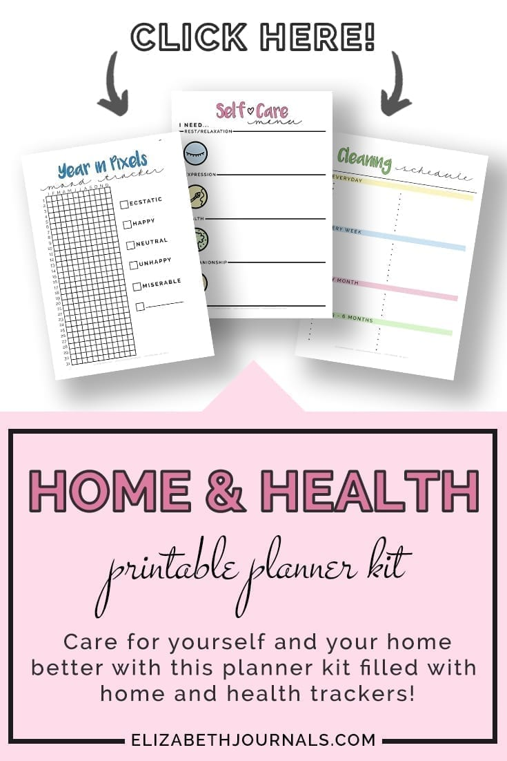 pinterest image 2-home and health printable planner kit-product description-click here-preview 3 pages-year in pixels-self-care menu-cleaning schedule-elizabethjournals