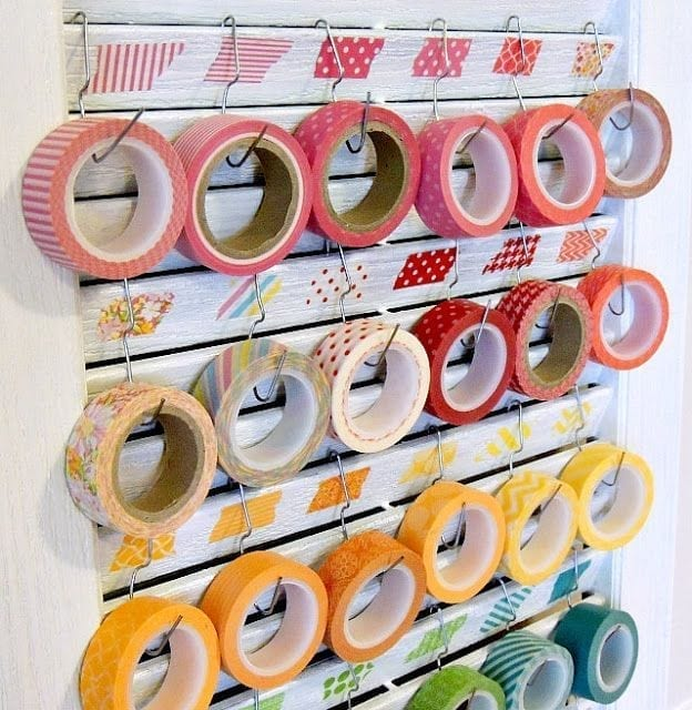 washi tape hung on paperclips from shutters
