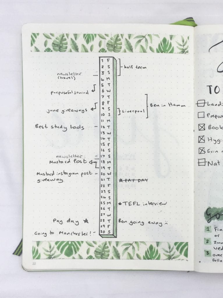 bullet journal monthly timeline with tropical washi tape border on the top and bottom of the page