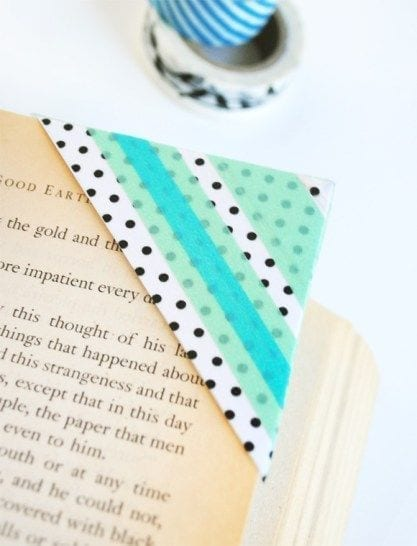 A close up of a book corner made of washi tape