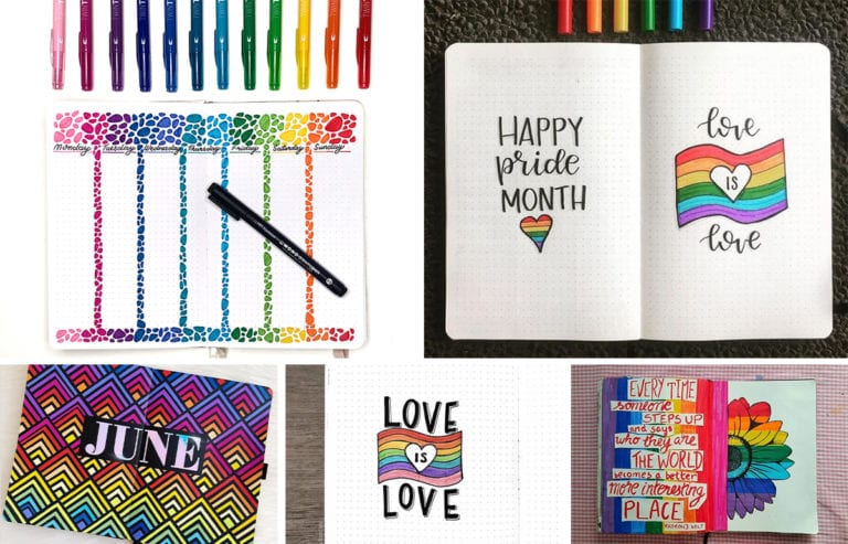 Featured-Image-pride lgbtq bullet journal ideas-collage of some examples copy