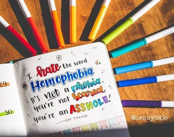 beth evans pinterest anti-homophobia bujo quote with rainbow colors