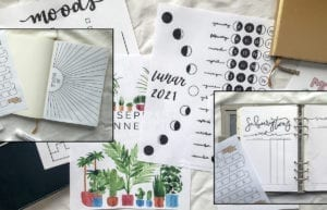 featured image what are printable planners and how to use them-image of printable pages on white background with smaller framed images of printable page in notebook and in ring binder