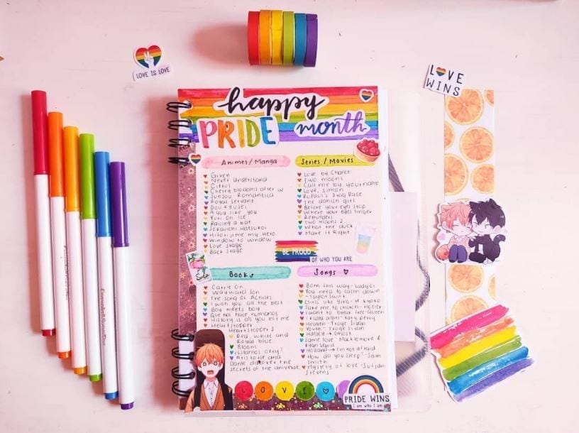 pancake_journal happy pride month rainbow page
