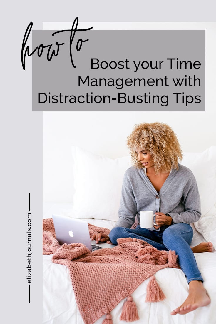pinterest image-how to boost your time management with distraction busting tips-woman on bed with laptop and coffee