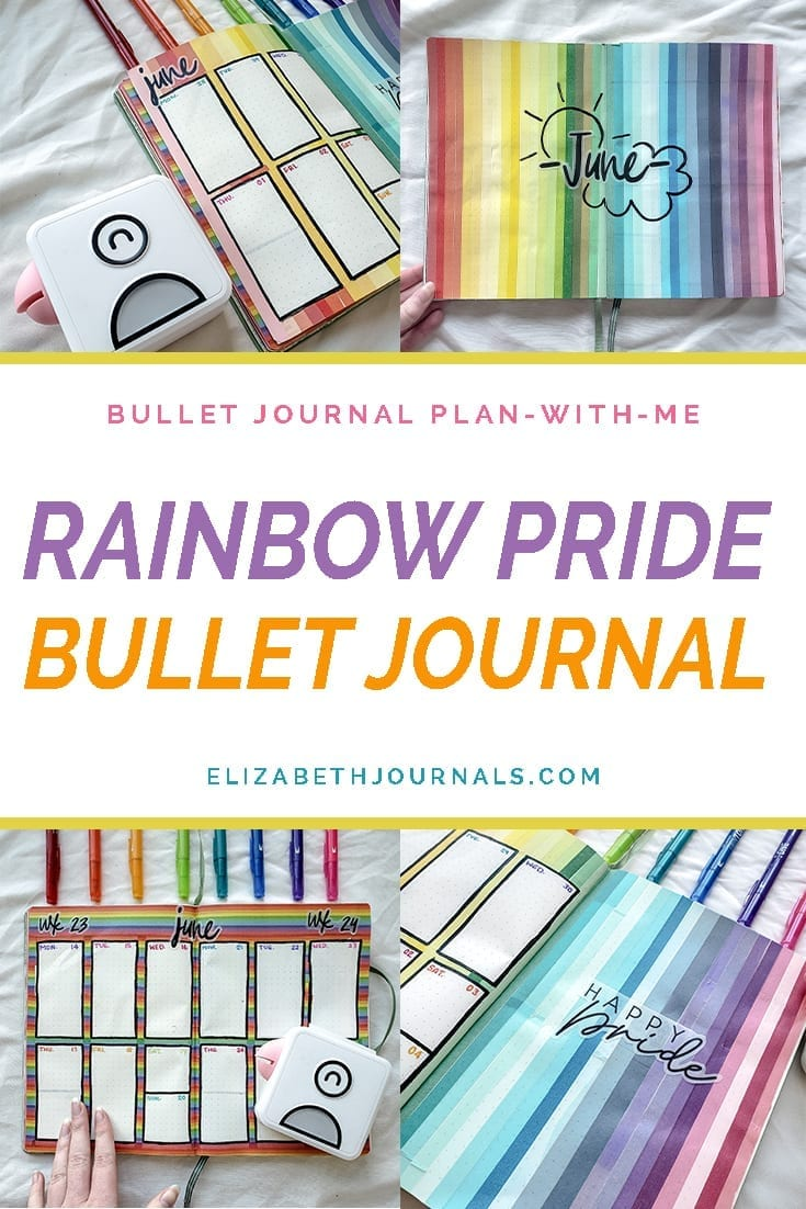 pinterest image-preview 4 layouts-bullet journal plan with me-rainbow pride bullet journal
