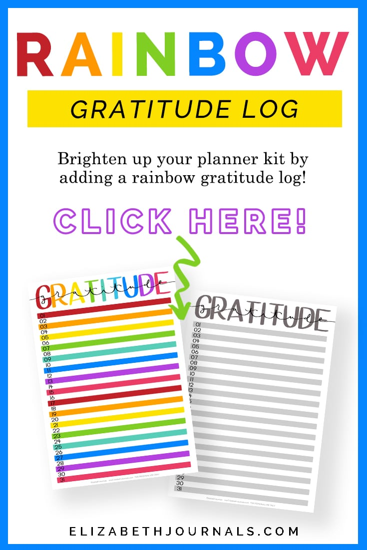 pinterest image-rainbow gratitude log-brighten up your planner kit by adding a rainbow gratitude log-CLICK HERE-preview printable copy