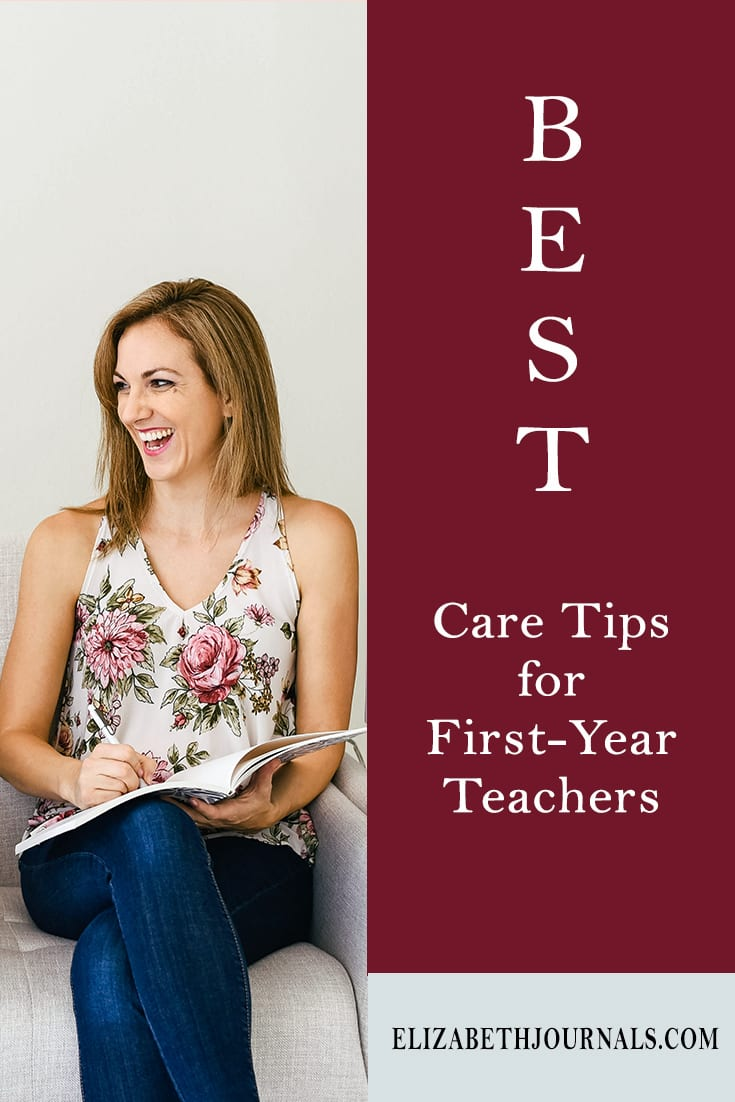 pinterest image-the best care tips for first year teachers-women holding notebook smiling