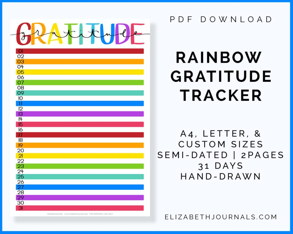 rainbow gratitude tracker-a4, letter, custom-semi dated-2 pages-hand-drawn-31 days-pdf download copy