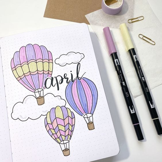 colorful hot air balloons april cover page