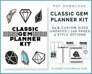 classic gem planner kit-pdf download-3 style options-a4 custom sizes-undated-106 pages-collage of previews copy