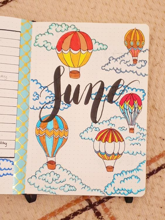 colorful june hot air balloon cover page