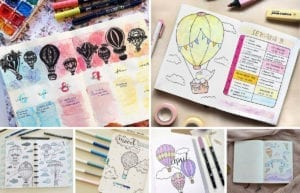 featured image-hot air balloon bullet journal layouts ideas-collage of layouts