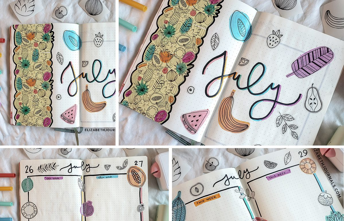 featured image- tropical fruit bullet journal plan with me - july 2021 bujo - 4 previews of tropical fruit bujo layouts copy