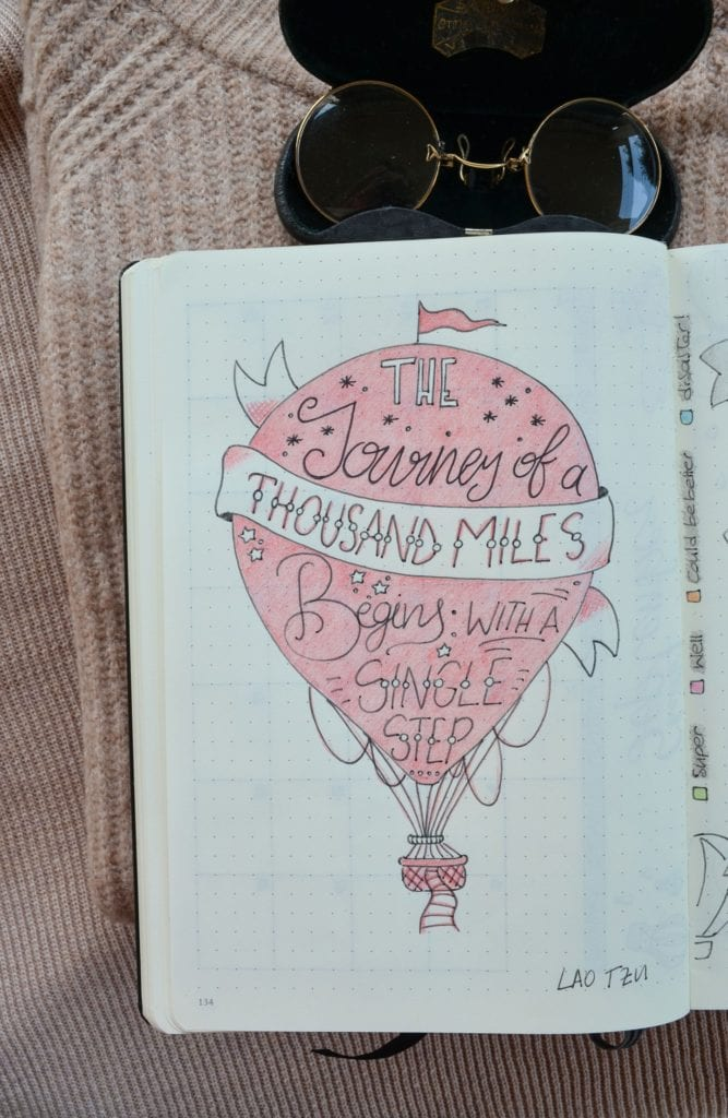 pink hot air balloon with quote in it