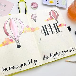 pink watercolor april cover hot air balloons littlemissrose